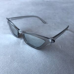 Grey Cat Eye Sunglasses with Silver Lenses ~ NWT